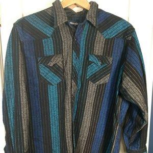 WRANGLER Flannel Long Sleeve Shirt Extra Long